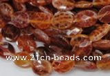 CAG573 15.5 inches 10*14mm faceted oval natural fire agate beads