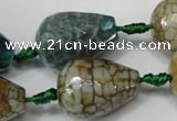 CAG5731 15 inches 15*20mm faceted teardrop fire crackle agate beads