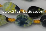 CAG5739 15 inches 15*20mm faceted teardrop fire crackle agate beads