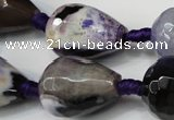 CAG5743 15 inches 15*20mm faceted teardrop fire crackle agate beads