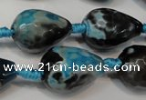 CAG5745 15 inches 15*20mm faceted teardrop fire crackle agate beads