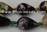 CAG5746 15 inches 15*20mm faceted teardrop fire crackle agate beads