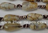 CAG5755 15 inches 8*16mm faceted teardrop fire crackle agate beads