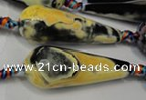 CAG5766 15 inches 15*40mm faceted teardrop fire crackle agate beads