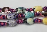 CAG5770 15 inches 6*9mm faceted rice fire crackle agate beads