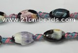 CAG5772 15 inches 8*12mm faceted rice fire crackle agate beads