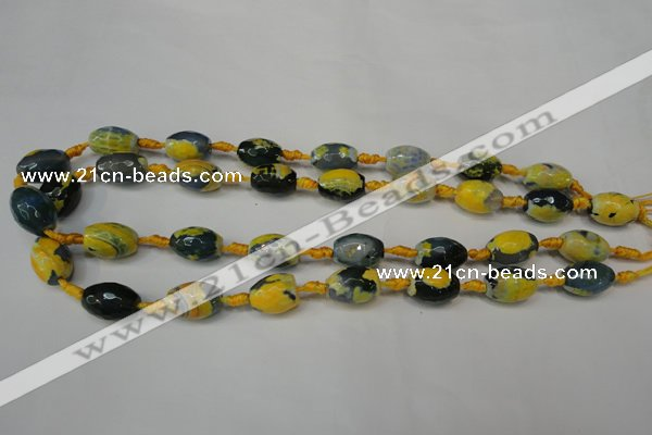 CAG5774 15 inches 10*14mm faceted rice fire crackle agate beads