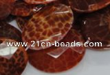 CAG578 15.5 inches 30*40mm faceted oval natural fire agate beads