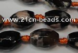 CAG5781 15 inches 12*16mm faceted rice fire crackle agate beads