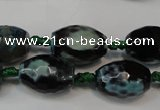 CAG5784 15 inches 12*16mm faceted rice fire crackle agate beads
