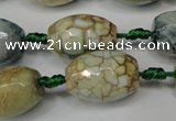 CAG5788 15 inches 13*18mm faceted rice fire crackle agate beads