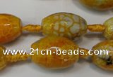 CAG5790 15 inches 13*18mm faceted rice fire crackle agate beads