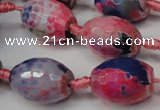 CAG5799 15 inches 15*20mm faceted rice fire crackle agate beads
