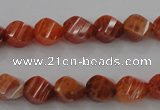 CAG580 15.5 inches 8*10mm faceted & twisted rice natural fire agate beads