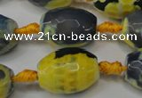 CAG5800 15 inches 15*20mm faceted rice fire crackle agate beads
