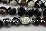 CAG5807 15 inches 10mm faceted round fire crackle agate beads