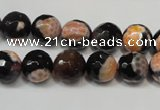 CAG5808 15 inches 10mm faceted round fire crackle agate beads
