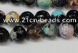 CAG5813 15 inches 10mm faceted round fire crackle agate beads