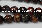 CAG5816 15 inches 10mm faceted round fire crackle agate beads