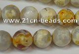 CAG5820 15 inches 12mm faceted round fire crackle agate beads