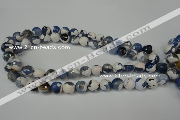 CAG5821 15 inches 12mm faceted round fire crackle agate beads