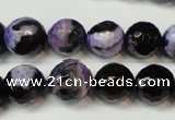 CAG5824 15 inches 12mm faceted round fire crackle agate beads