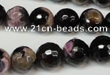 CAG5825 15 inches 12mm faceted round fire crackle agate beads