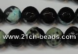 CAG5828 15 inches 12mm faceted round fire crackle agate beads