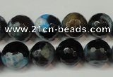 CAG5829 15 inches 12mm faceted round fire crackle agate beads