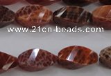 CAG583 15.5 inches 10*20mm faceted & twisted rice natural fire agate beads
