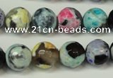 CAG5830 15 inches 12mm faceted round fire crackle agate beads