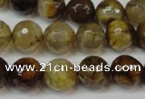 CAG5831 15 inches 12mm faceted round fire crackle agate beads