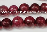 CAG5832 15 inches 12mm faceted round fire crackle agate beads