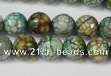 CAG5833 15 inches 12mm faceted round fire crackle agate beads