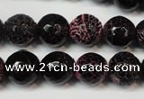 CAG5837 15 inches 12mm faceted round fire crackle agate beads