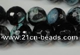 CAG5841 15 inches 14mm faceted round fire crackle agate beads