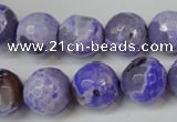 CAG5843 15 inches 14mm faceted round fire crackle agate beads