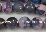 CAG5844 15 inches 14mm faceted round fire crackle agate beads
