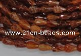 CAG585 15.5 inches 6*9mm faceted teardrop natural fire agate beads