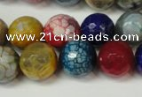 CAG5851 15 inches 14mm faceted round fire crackle agate beads