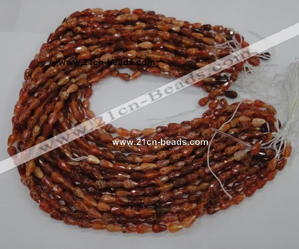 CAG586 15.5 inches 8*12mm faceted teardrop natural fire agate beads