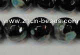 CAG5865 15 inches 16mm faceted round fire crackle agate beads