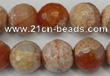 CAG5868 15 inches 16mm faceted round fire crackle agate beads