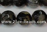 CAG5870 15 inches 16mm faceted round fire crackle agate beads