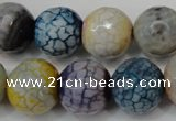 CAG5873 15 inches 16mm faceted round fire crackle agate beads