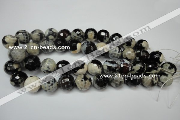 CAG5876 15 inches 18mm faceted round fire crackle agate beads