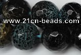 CAG5878 15 inches 18mm faceted round fire crackle agate beads