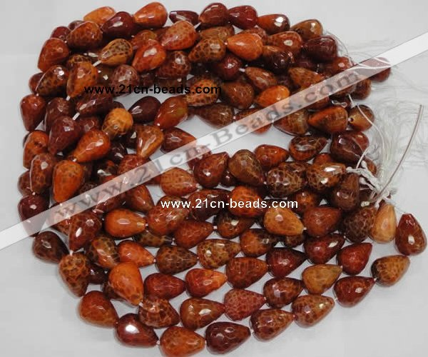 CAG588 15.5 inches 13*18mm faceted teardrop natural fire agate beads