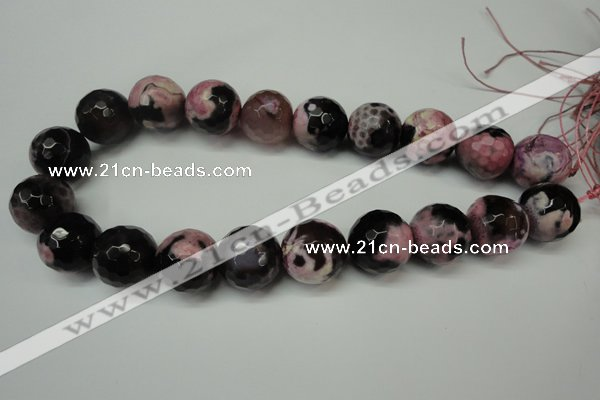 CAG5884 15 inches 20mm faceted round fire crackle agate beads