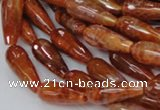 CAG590 15.5 inches 8*16mm faceted teardrop natural fire agate beads